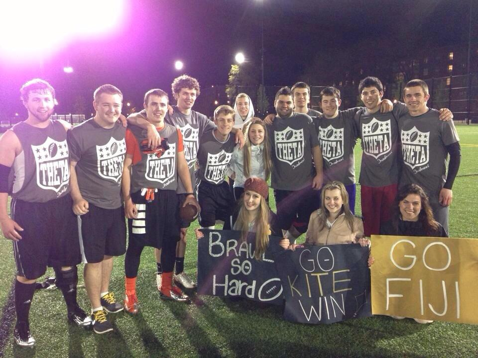 FIJI brothers after placing in the finals of the IronBrawl football tournament.